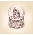 christmas snow globe hand drawn vector image