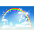 rainbow sky and clouds vector image vector image