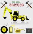 best service and diagnostics backhoe loader vector image