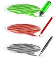 scribbled speech shapes felt tip pen pencil vector image vector image