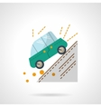 Car accident flat color design icon vector image