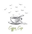 Hand drawn coffee cup with lettering vector image