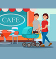 happy family walking in city center young mother vector image