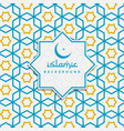 islamic pattern background in blue and yellow vector image