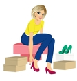 woman trying many fashionable shoes vector image