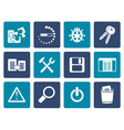 Flat developer programming and application icons vector image