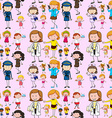 Seamless background with people doing different vector image vector image