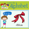 Flashcard letter R is for ribbon vector image