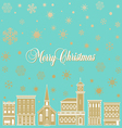 Festive Christmas background with a town vector image