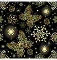 Seamless pattern with gold snowflakes vector image