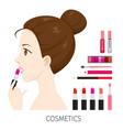 side view woman with hair bun make-up lipsticks vector image