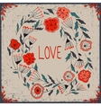 Floral wreath Beautiful greeting card with floral vector image