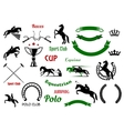 Equestrian sports design elements with horses vector image