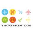 aircraft or airplane flat minimal icons set vector image