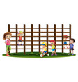 children playing and climbing up the bars vector image