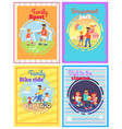 father with amusing with kids set of four cards vector image