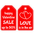 happy valentine sale up to 50 love is in the air vector image