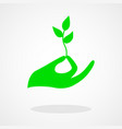 icon of a hand holding a young plant vector image