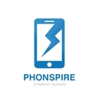 logo combination of a phone and lightning vector image