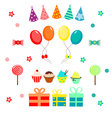 Set of birthday party colorful elements vector image