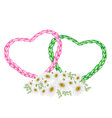 Two Rope Heart with A White Daisy Flower vector image
