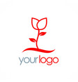 rose plant flower logo vector image
