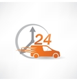 delivery car twenty-four hours a day icon vector image vector image