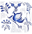 Set blue ethnic elements for design in gzhel style vector image