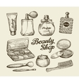 Hand drawn vintage womens cosmetics Sketch vector image