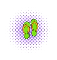 Beach slippers icon comics style vector image