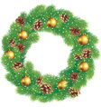 Christmas wreath of pine branches with cones vector image