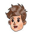 drawing character face head boy happy vector image