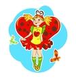 girl wearing ladybug costume vector image