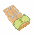 Mousetrap with money icon cartoon style vector image