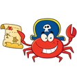 Pirate Crab Holding A Treasure Map vector image