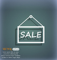 SALE tag icon sign On the blue-green abstract vector image