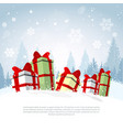 winter holiday poster gift boxes over snowy forest vector image