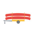 yellow trailer with red canoe vector image