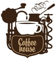cup and coffee machine in retro vector image vector image