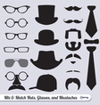 Mustache Hat Glasses and Ties Labels vector image vector image