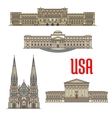 US Architecture and cathedral landmarks vector image