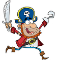 Running Pirate Holding Up A Sword And Hook vector image