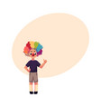 little boy wearing clown nose and wig showing vector image