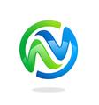 abstract circle infinity green blue logo vector image