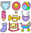 doodle of toy set baby collection vector image
