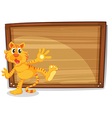 A tiger in front of a blank board vector image vector image