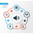 audio icons set collection of sound mike file vector image