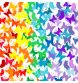 Background with butterflies in rainbow colors vector image vector image