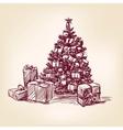 christmas tree hand drawn vector image vector image