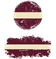 Latvian round and square grunge flags vector image